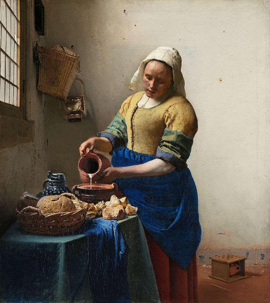 ohannes Vermeer. Η γαλατού (Het melkmeisje) (περ. 1658-60), λάδι σε μουσαμά, 45,1x41 εκ., Κρατικό Μουσείο του Άμστερνταμ
