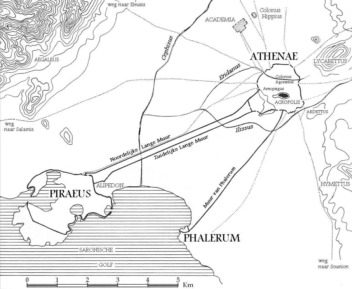 Τα Μακρά Τείχη που ένωναν την αρχαία πόλη της Αθήνας με το λιμάνι του Πειραιά.
