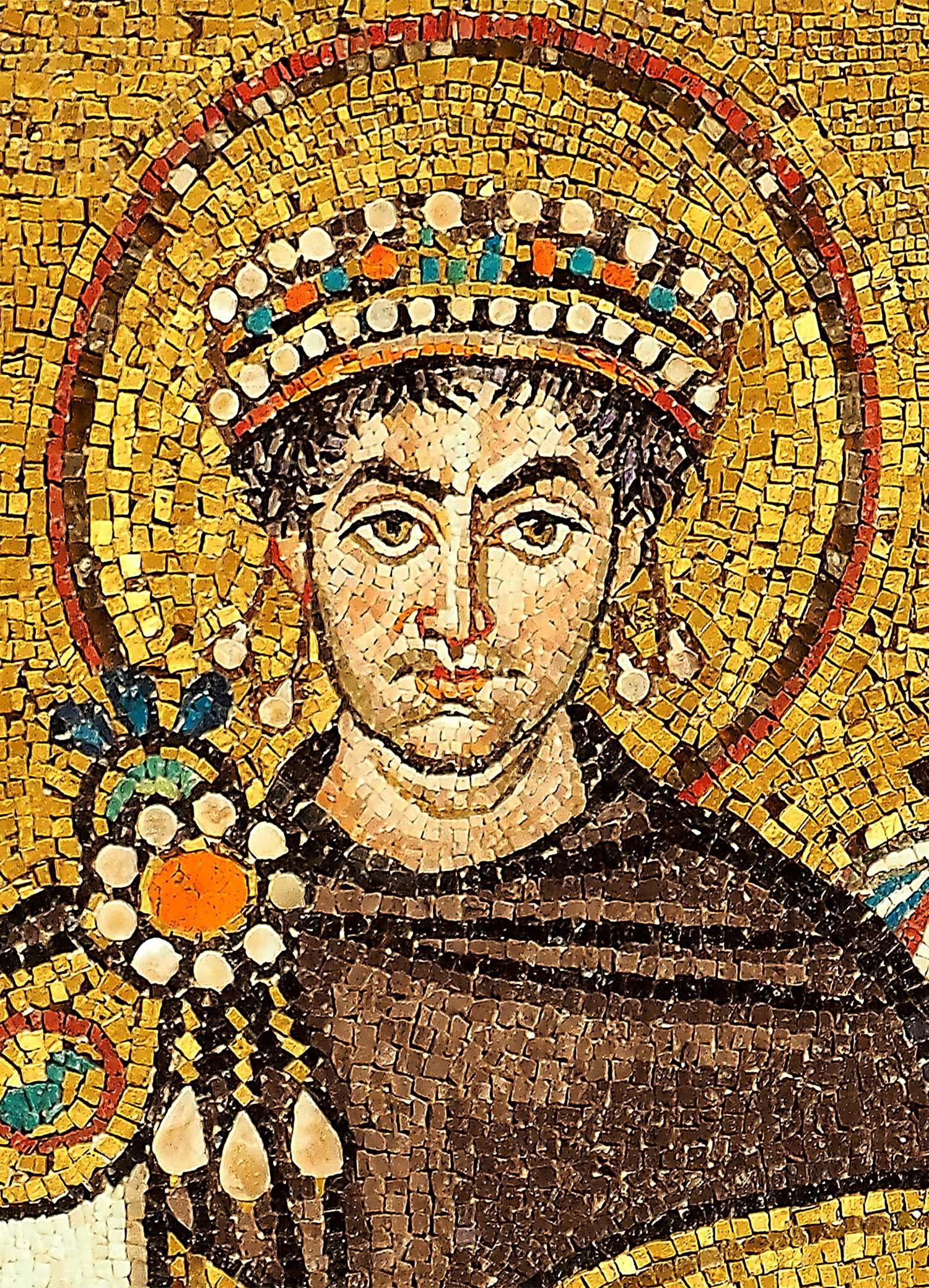 Η μορφή του Ιουστινιανού στα ψηφιδωτά του ναού του Αγίου Βιταλίου, στη Ραβέννα