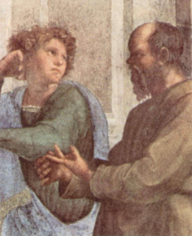 Ο Σωκράτης και ο νεαρός Ξενοφών (λεπτομέρεια τοιχογραφίας του Ραφαήλ της Σχολής των Αθηνών) στο Βατικανό