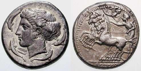 Αρχαίο ελληνικό τετράδραχμο από τις Συρακούσες. A Syracusan tetradrachm (c. 415–405 BC)