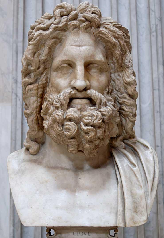 """Ο θεός Δίας. Zeus (Jupiter) Greek God Statue - So-called """"Zeus of Otricoli"""". Marble, Roman copy after a Greek original from the 4th century."""