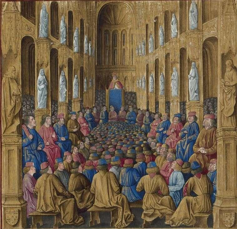 Ο πάπας στο Συμβούλιο του Clermont. Εικόνα από το Livre des Passages d' Outre-mer (1474) (πηγή)
