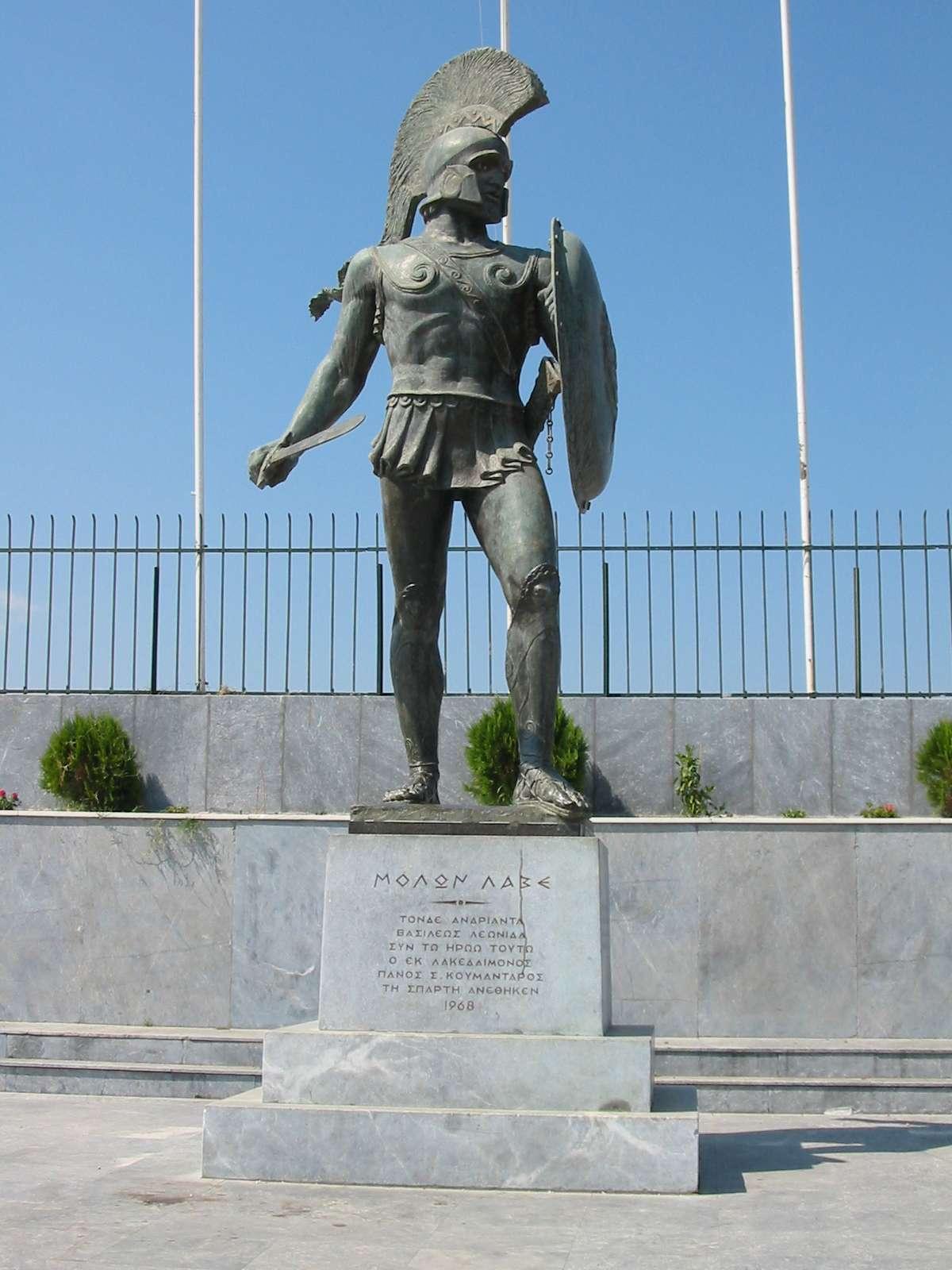 Άγαλμα του Σπαρτιάτη βασιλιά Λεωνίδα στις Θερμοπύλες