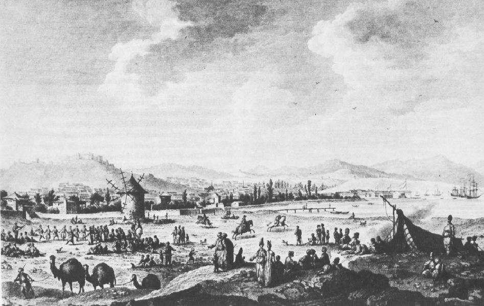 Η Σμύρνη κατά την περίοδο της Επανάστασης του 1821. Χαλκογραφία του T.B. Hilair.