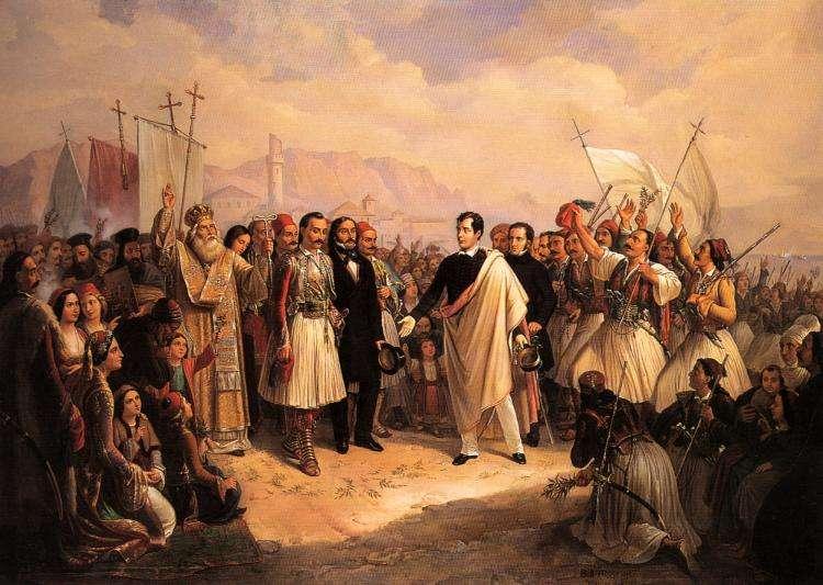 Η υποδοχή του Λόρδου Βύρωνα στο Μεσολόγγι στις 5 Ιανουαρίου 1824 - Με το μαύρο παλτό ο Αλέξανδρος Μαυροκορδάτος