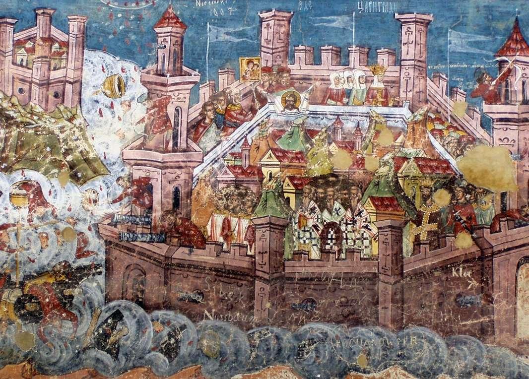 Νωπογραφία από άγνωστο καλλιτέχνη στην Εκκλησία της Μονής Moldoviţa απεικονίζει την άλωση της Κωνσταντινούπολης, 1537.