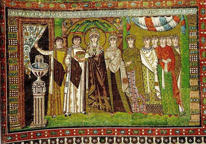Η αυτοκράτειρα Θεοδώρα και οι ακόλουθοι της (μωσαϊκό της βασιλικής του Αγίου Βιταλίου)