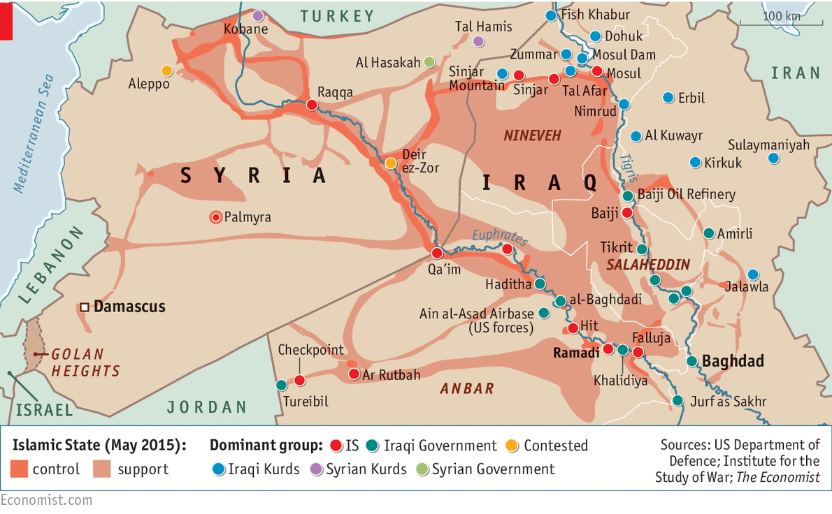 Χάρτης της περιοχής. Συρία και Ιράκ