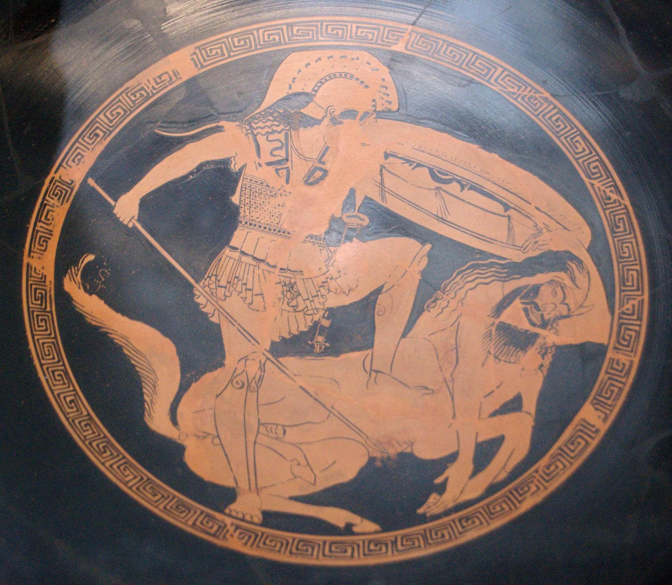 Κενταυρομαχία. Centauromachy, tondo of an Attic red-figure kylix, ca. 480 BC