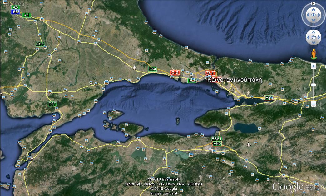 σύγχρονη δορυφορική φωτογραφία της Κωνσταντινούπολης