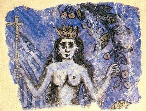 Γοργόνα, λεπτομέρεια από ζωγραφιά του Θεόφιλου σε σπίτι της Μυτιλήνης