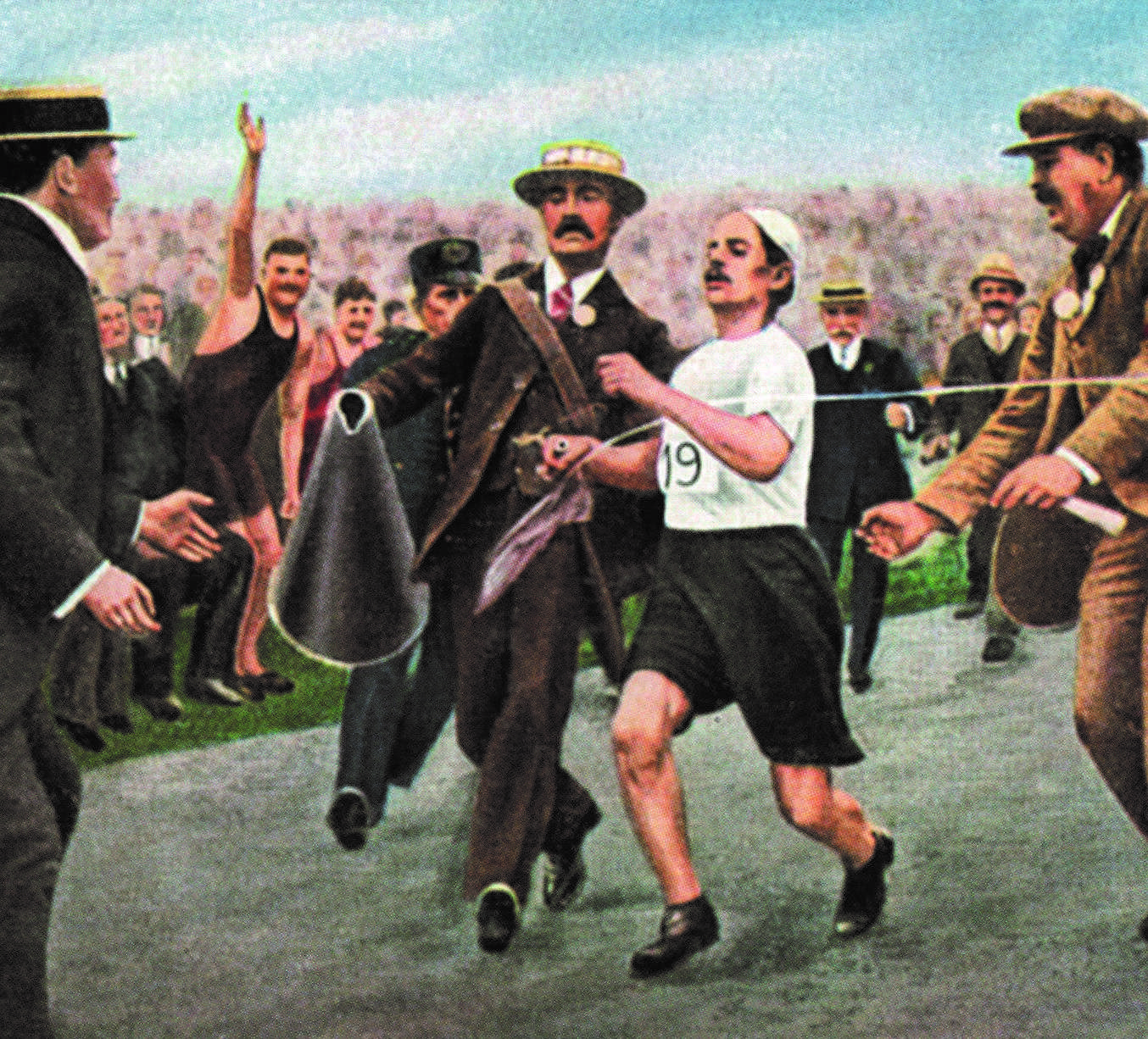 Artist's rendition of Italian Dorando Pietri, flanked by two officials, breaking the tape at the finish of the Olympic marathon in July 1908 in London. Pietri who collapsed 100m from the finish line and was helped up by officials, was later disqualified following protest from 19-year-old John Hayes of the U.S., who had finished second. Pietri was carried off to the hospital following the race and remained long hours between life and death before recovering. Four months later, Pietri beat Hayes by 45 seconds in a revenge marathon. / AFP PHOTO / -