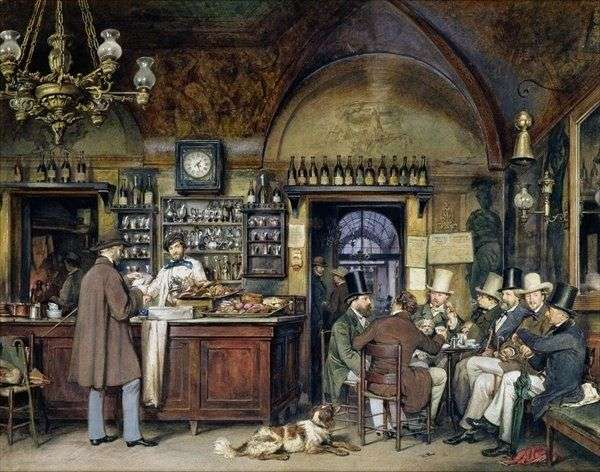 The Greek Cafe in Rome, 1856 by Ludwig Passini