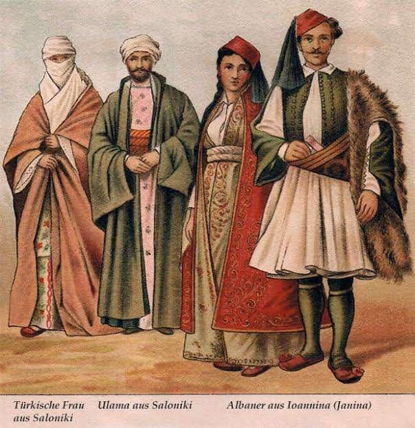 Παραδοσιακές φορεσιές Τούρκων της Θεσσαλονίκης και Αλβανών της Ηπείρου.