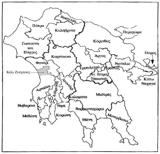 Χάρτης της Πελοποννήσου με τις διοικητικές υποδιαιρέσεις επί τουρκοκρατίας