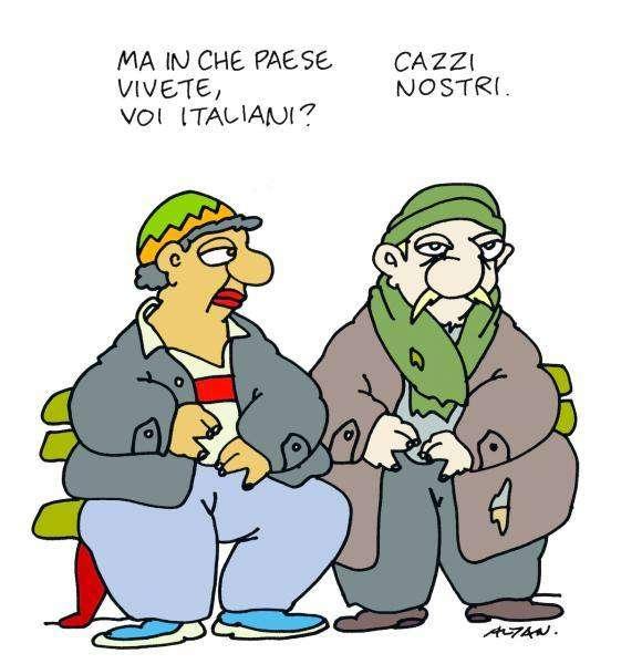 """"""" - Μα σε τι χώρα ζείτε εσείς οι Ιταλοί;        - Στα παπάρια μας!  - σκίτσο του Αλτάν"""