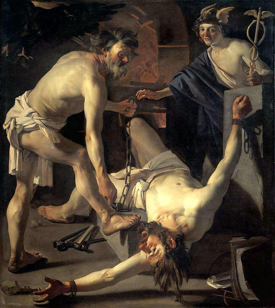 Prometheus Being Chained by Vulcan (1623), by Dirck van Baburen