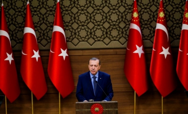 (Φωτ. Ο Πρόεδρος της Τουρκίας, Recep Tayyip Erdogan, κατά την σημερινή ομιλία του στο Προεδρικό Μέγαρο στη Άγκυρα. Photo by Ahmet Izgi/Anadolu Agency/Getty Images/Ideal Image)