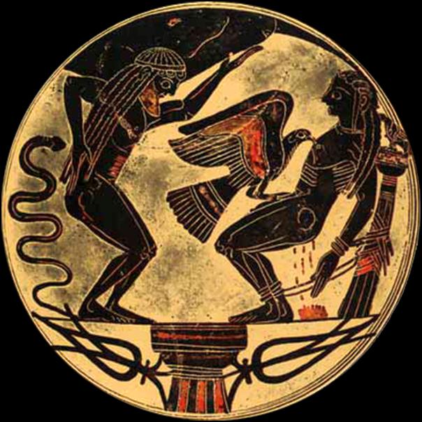 Ο Προμηθέας δεμένος. Λακωνικό κύπελλο ~ 550 π.Χ