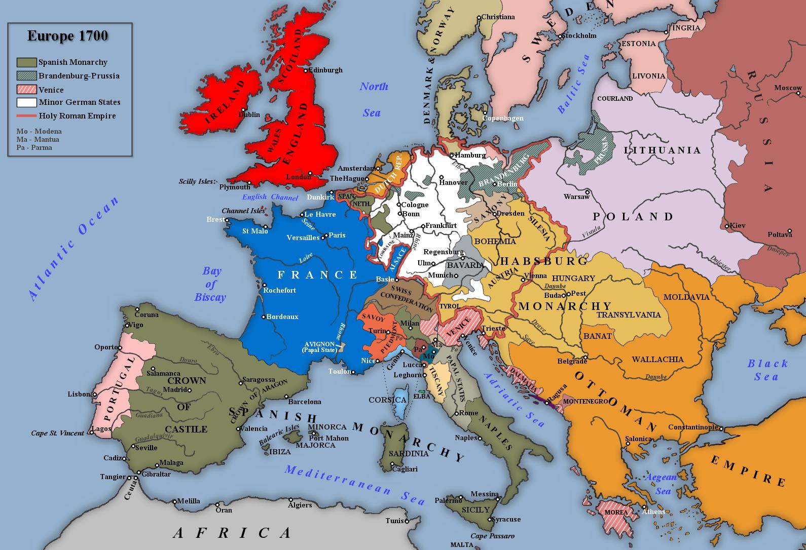 Η Ευρώπη κατά τον πόλεμο της Ισπανικής διαδοχής, 1700