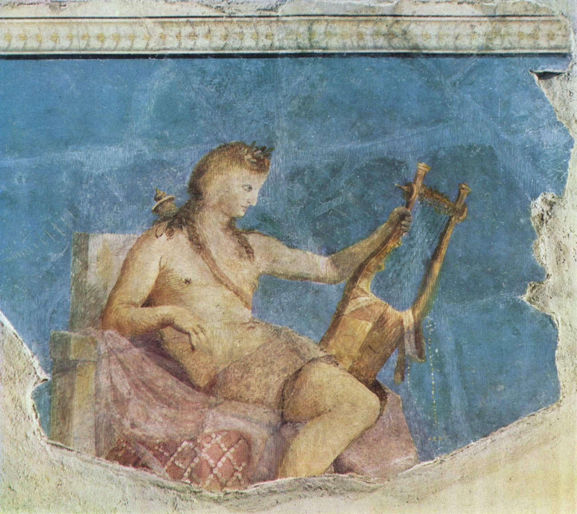 Ο «κιθαρωδός» Απόλλωνας. Φρεσκογραφία στον, Οίκο του Αυγούστου στην Ρώμη, περ. 20 π.Χ.