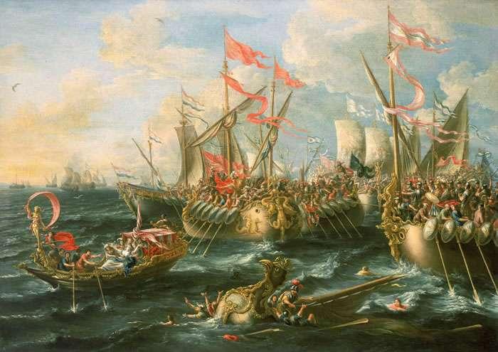 Η Ναυμαχία του Ακτίου (2 Σεπτεμβρίου 31 π.Χ.) , πίνακας του Λορέντζο Κάστρο, 1672. Η νίκη των δυνάμεων του Οκταβιανού κατά του Αντωνίου και της Κλεοπάτρας σηματοδότησε το πέρας της δημοκρατικής περιόδου της Αρχαίας Ρώμης.