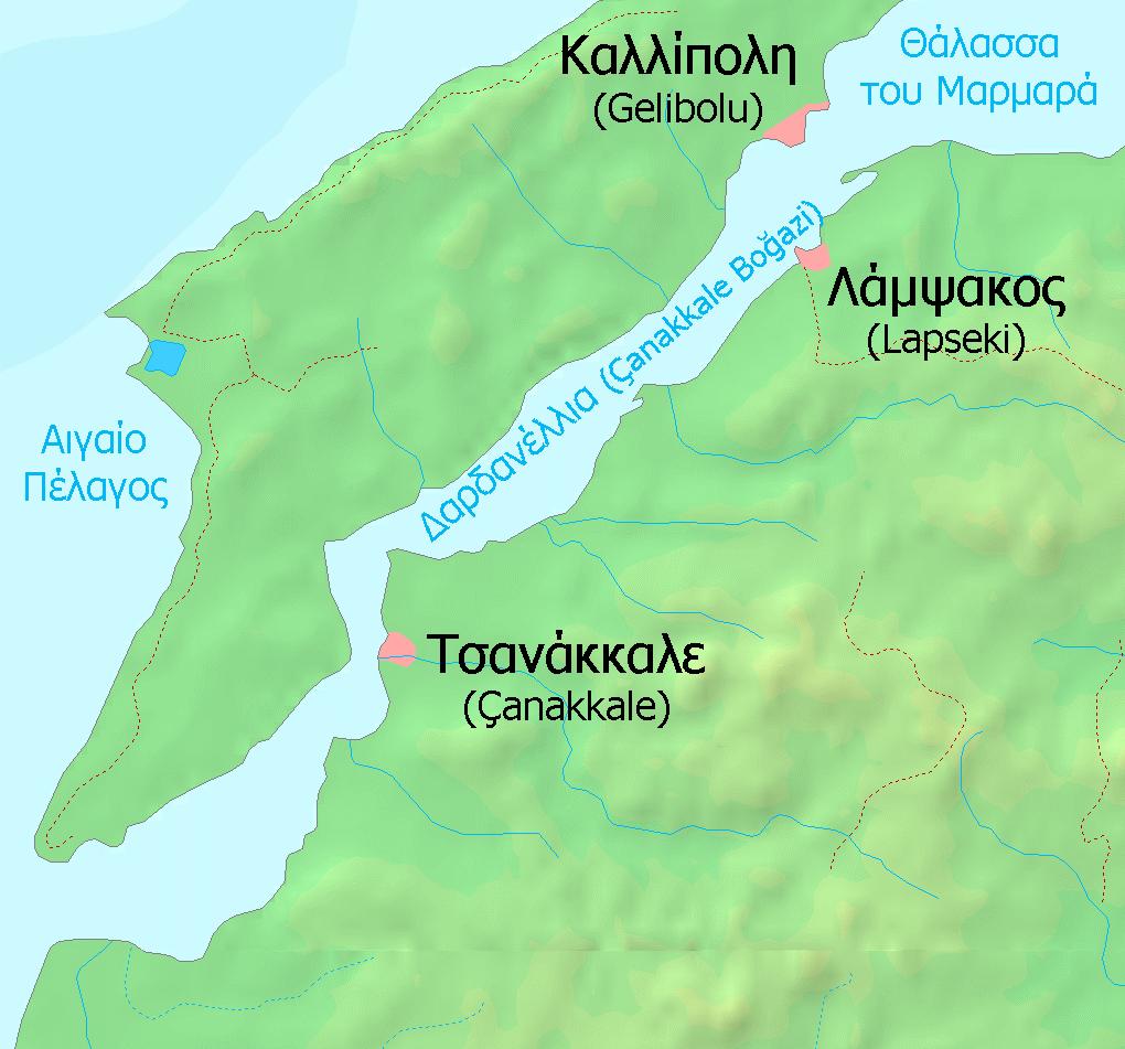 Οι Αιγός Ποταμοί τοποθετούνται μάλλον 10 χλμ. νοτίως της Καλλίπολης.
