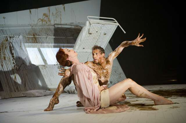 Edward Watson as Gregor Samsa and Nina Goldman as Mrs Samsa in The Metamorphosis  * Photographer: Tristram Kenton*