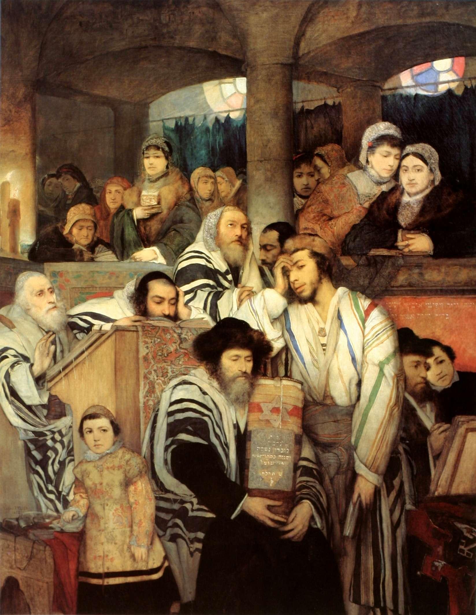 Εβραίοι που προσεύχονται σε συναγωγή κατά τη γιορτή του Γιομ Κιπούρ. (Πίνακας του Μορίς Γκότλιμπ, 1878)