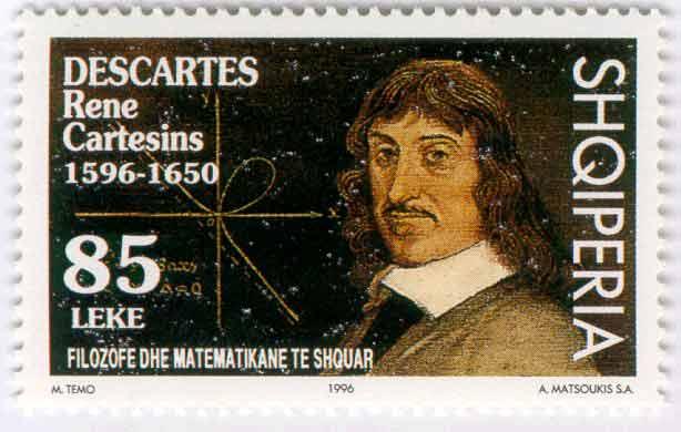 Ο Ρενέ Ντεκάρτ (εξελληνισμένο όνομα:Καρτέσιος)  σε γραμματόσημο