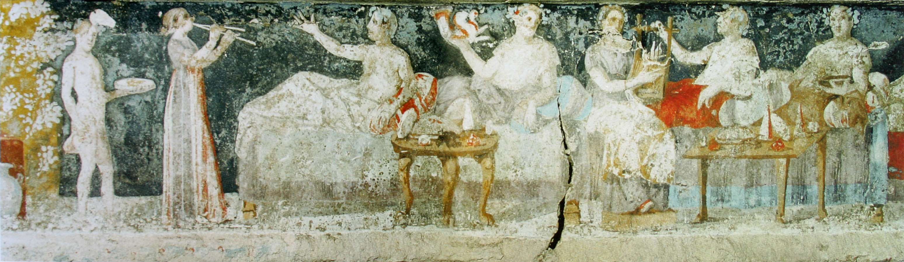 Σκηνή συμποσίου. Μακεδονικός τάφος Αγίου Αθανασίου Θεσσαλονίκης, π. 325-300 πΧ.