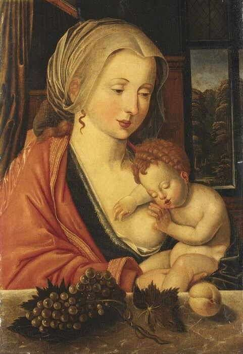 Breastfeeding Madonna Masters of the Parrot Maria lactans ca 1520