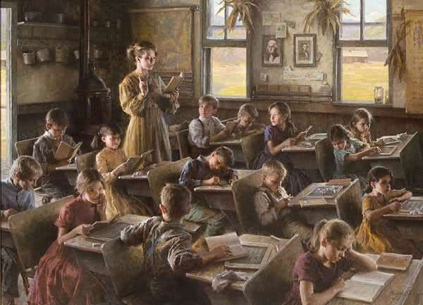 Teacher reading to students. (fiction) Still Water Springs school - early 1900's.