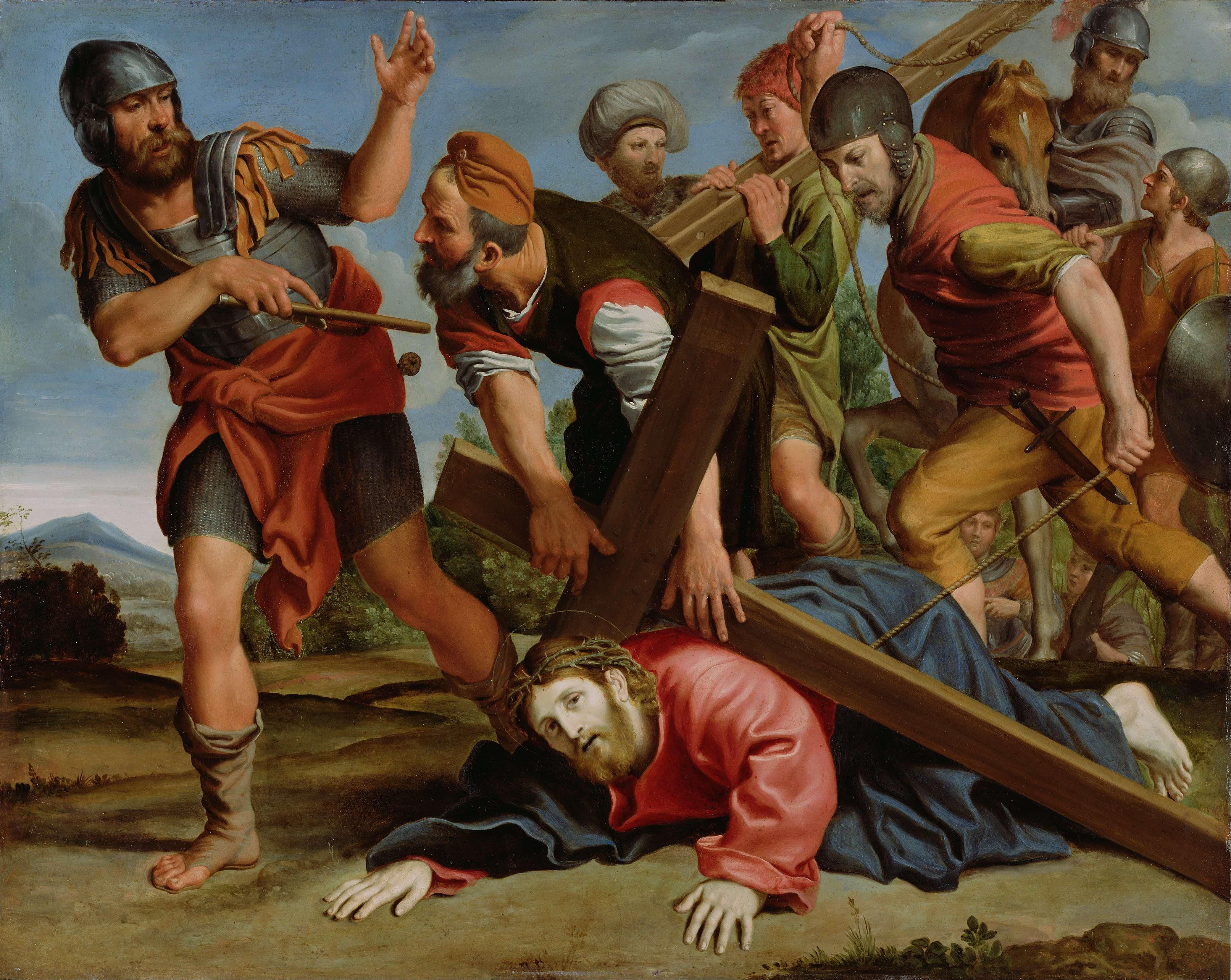 πίνακς του Domenichino. Ο δρόμος προς τον Γολγοθά, λάδι σε χαλκό, Μουσείο Γκεττύ