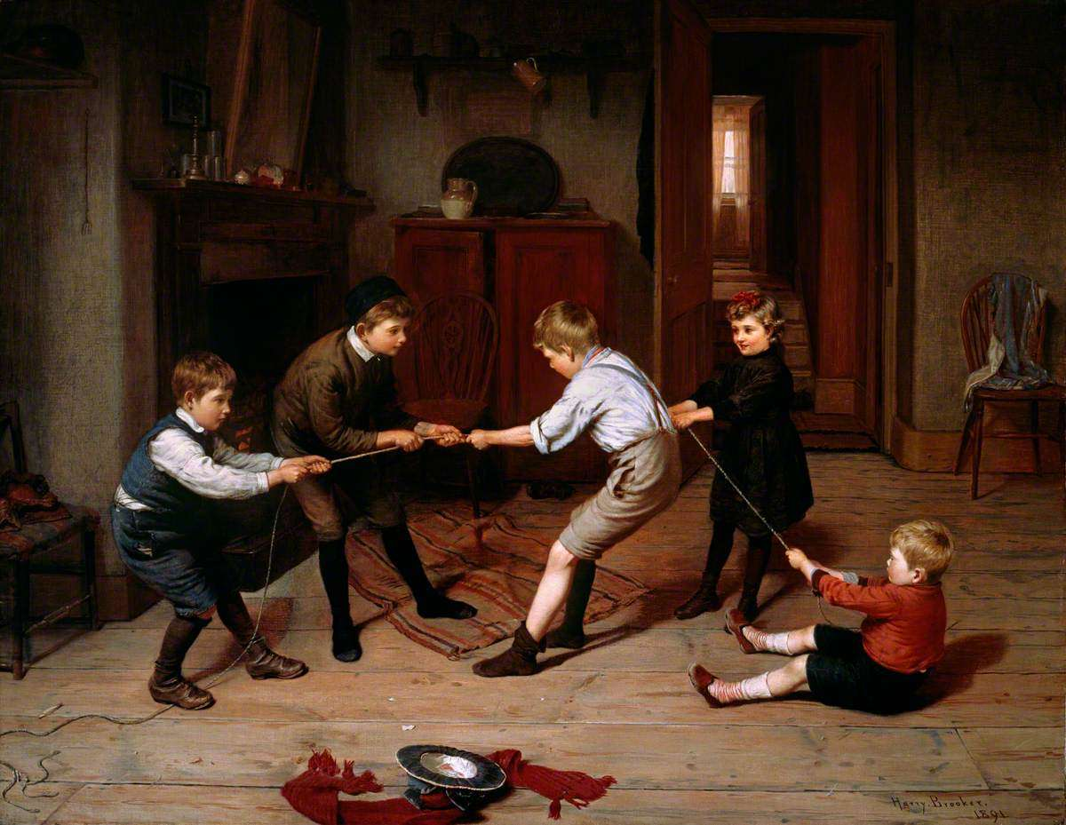 A Group of Children Playing at 'Tug of War' in a Domestic Interior Harry Brooker (1848–1940) The Geffrye, Museum of the Home