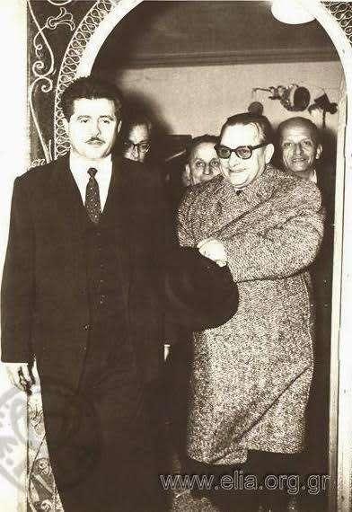 Ο Α. Δημητράτος (δεξιά), υπουργός εργασίας του Μεταξά.