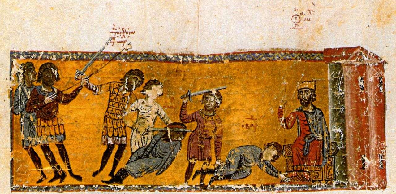 Η δολοφονία του Βάρδα η Καίσαρα στα πόδια του Μιχαήλ Γ '