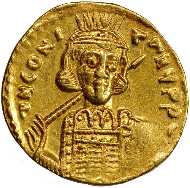 χρυσό βυζαντινό νόμισμα. Ο Κωνσταντίνος Δ´ (652 – 14 Σεπτεμβρίου 685) ήταν Βυζαντινός αυτοκράτορα