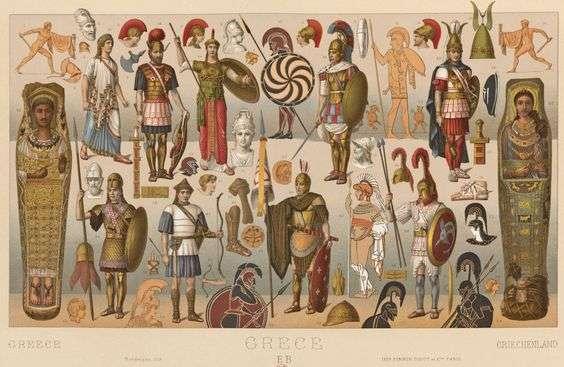 αρχαίες ελληνικές ενδυμασίες. Racinet, Auguste. Costume Historique. Paris: Firmin-Didot et Cie, 1888.