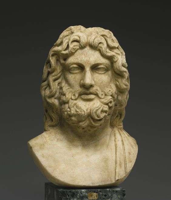 Μαρμάρινη κεφαλή του Δία. A Marble Head of Zeus, Roman Imperial, late 1st/2nd Century A.D., on an 18th Century bust