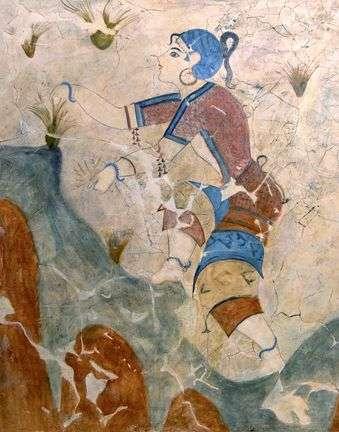 Θήρα, Κυκλάδες, παράσταση με κορίτσι που μαζεύει κρόκο (σαφράνι) Young Girl Gathering Saffron Crocus Flowers, Akrontiri, Thera, Cyclades, before 1630 BCE