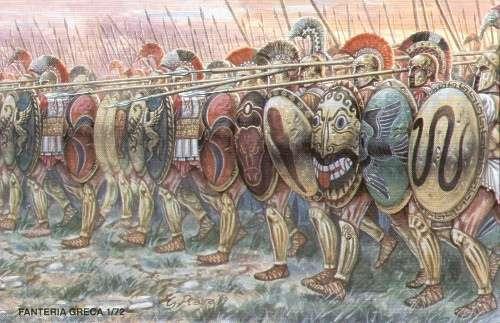 απεικόνιση αρχαίας ελληνικής φάλαγγας με οπλίτες