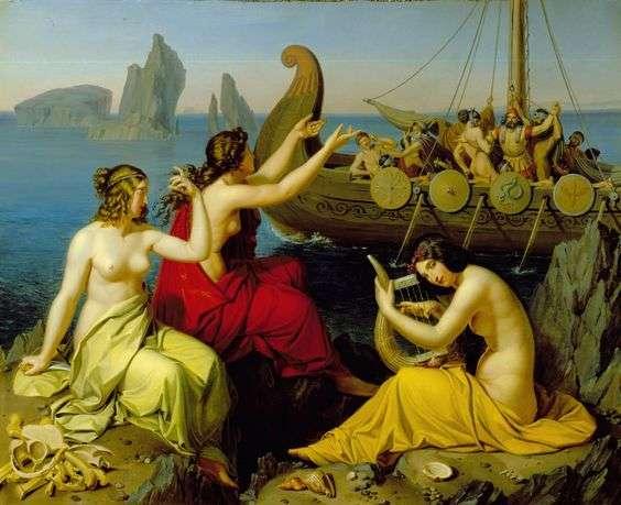 """Ο Οδυσσέας και οι Σειρήνες. """"Odysseus and the Sirens"""" - Alexander Bruckmann (1806 – 1852) . Oil on canvas"""