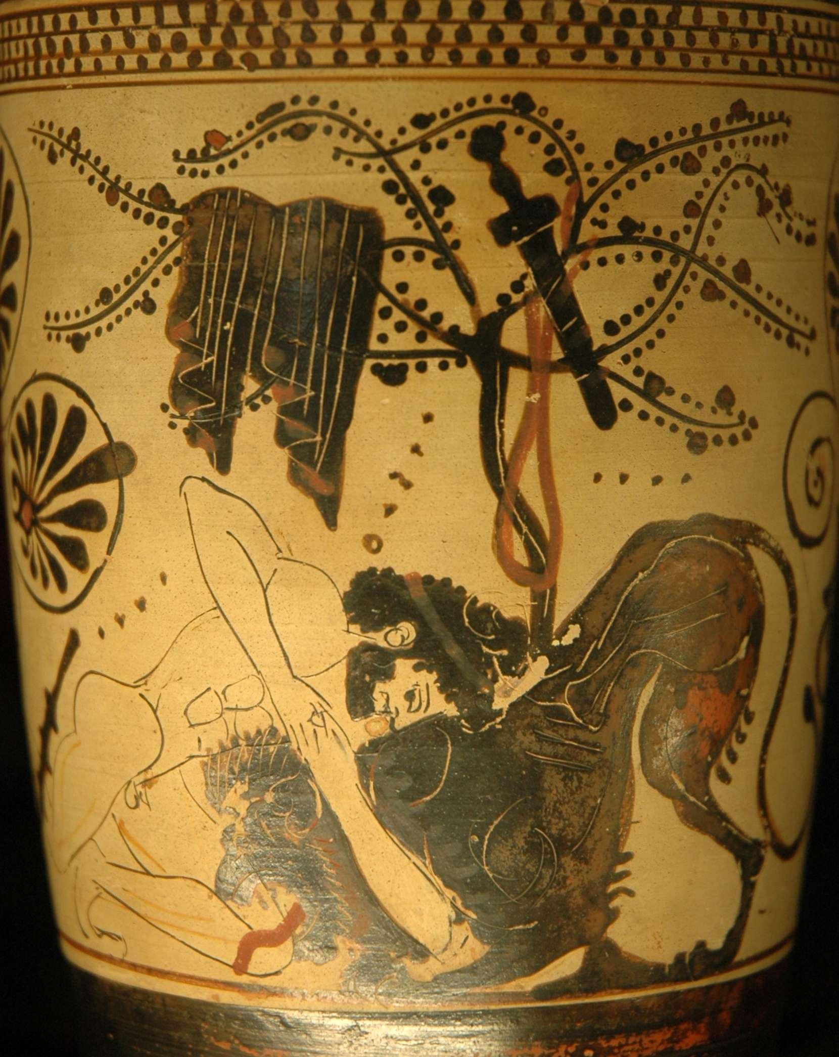 Ο Ηρακλής παλεύει με το λιοντάρι της Νεμέας. Λευκή λήκυθος του «Ζωγράφου του Διόσφου», πρώτο τέταρτο 5ου αι. π.Χ. Μουσείο του Λούβρου
