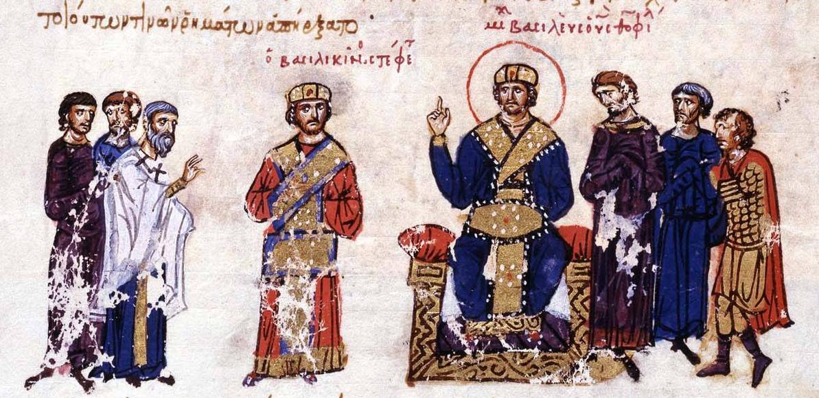 ο αυτοκράτορας Μιχαήλ Γ' στο θρόνο. Βυζαντινή απεικόνιση