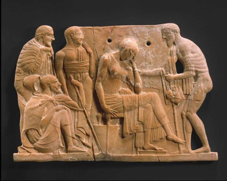 Ανάγλυφο από τερακότα. Διακρίνονται: Πηνελόπη, Οδυσσέας, δεξιά, ως ξεσκούφωτος ζητιάνος, Τηλέμαχος, αριστερά από την Πηνελόπη, χωρίς γένια, Εύμαιος, καθισμένος κάτω και αριστερά πιθανότατα άλλος βοσκός. 460-450 π.Χ., Μητροπολιτικό Μουσείο Τέχνης της Νέας Υόρκης