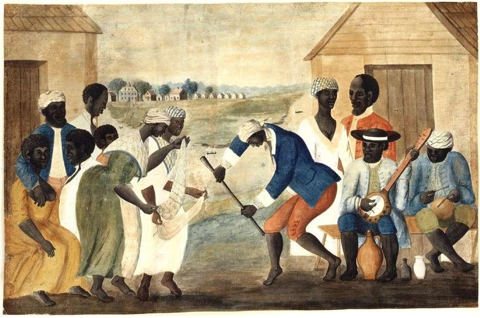 Μαύροι σκλάβοι σε φυτεία της νότιας Καρολίνας. Slaves on a South Carolina plantation (The Old Plantation, c. 1790