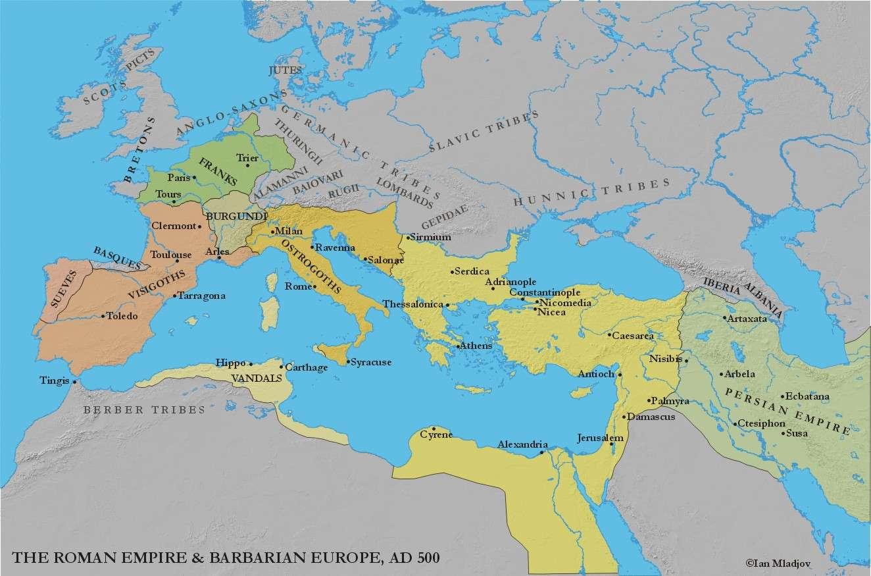 χάρτης της βυζαντινής αυτοκρατορίας γύρω στο 500 μ. Χ.