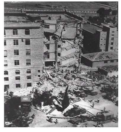 Το ξενοδοχείο Βασιλιάς Δαβίβ μετά την έκρηξη βόμβας